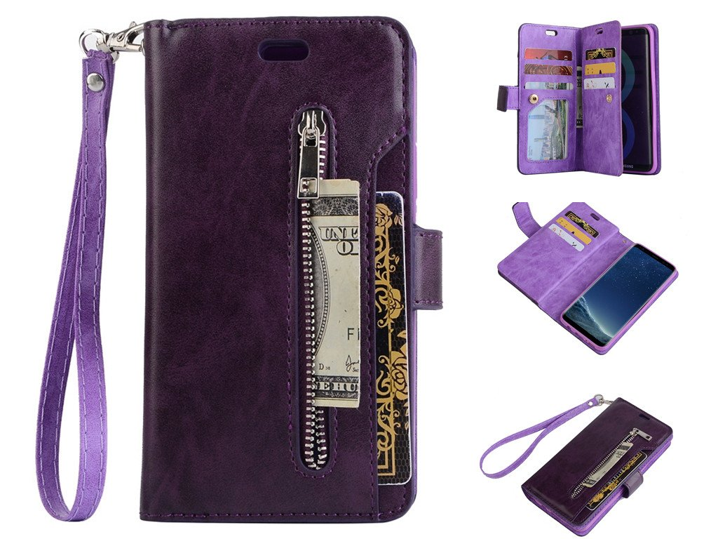 Zipper Wallet Leather Case 4.7'',MeiLiio Multifunction Case with Card Slots Money Pocket Clutch Cover Retro Vintage Stand Billfold Pouch Magnetic Sleeve for iPhone 7/8 4.7 inch (Purple)