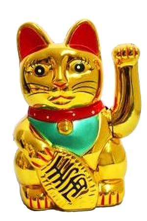Unbekannt Gato de la suerte japonés Maneki Neko (13 cm), color dorado: Amazon.es: Hogar