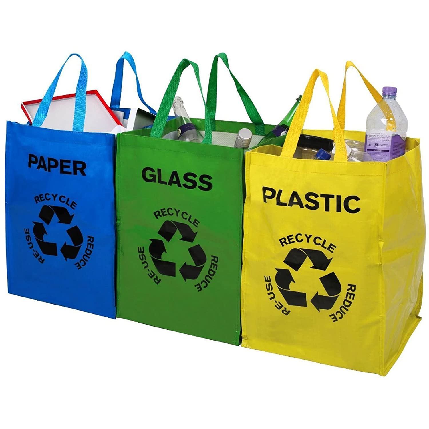 Set Of 3 Recycling Recycle Bags Colour Coded Plastic Glass Paper Storage Bin Bag Guilty Gadgets