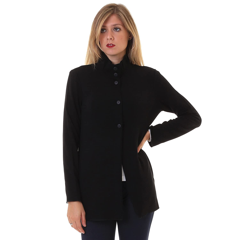 Araña Maxi Cárdigan Cuello Alto De Camiseta 020, negro