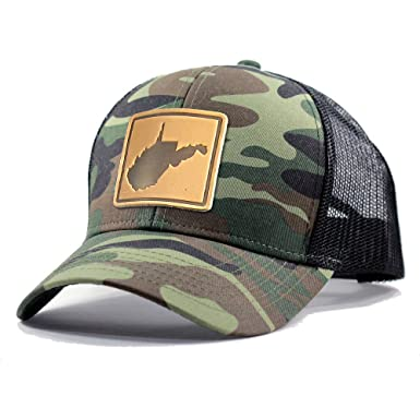 a05a9d5acce0a ... store homeland tees mens west virginia leather patch army camo trucker  hat army camo 30554 bf938