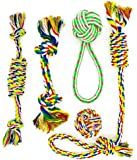 Standie Mark, Pet Puppy Dog Rope Toys for Small To Medium Dogs, Knot Tug Rope Toys, Chew Teething Rope Toys for Puppy (Pack of 5)