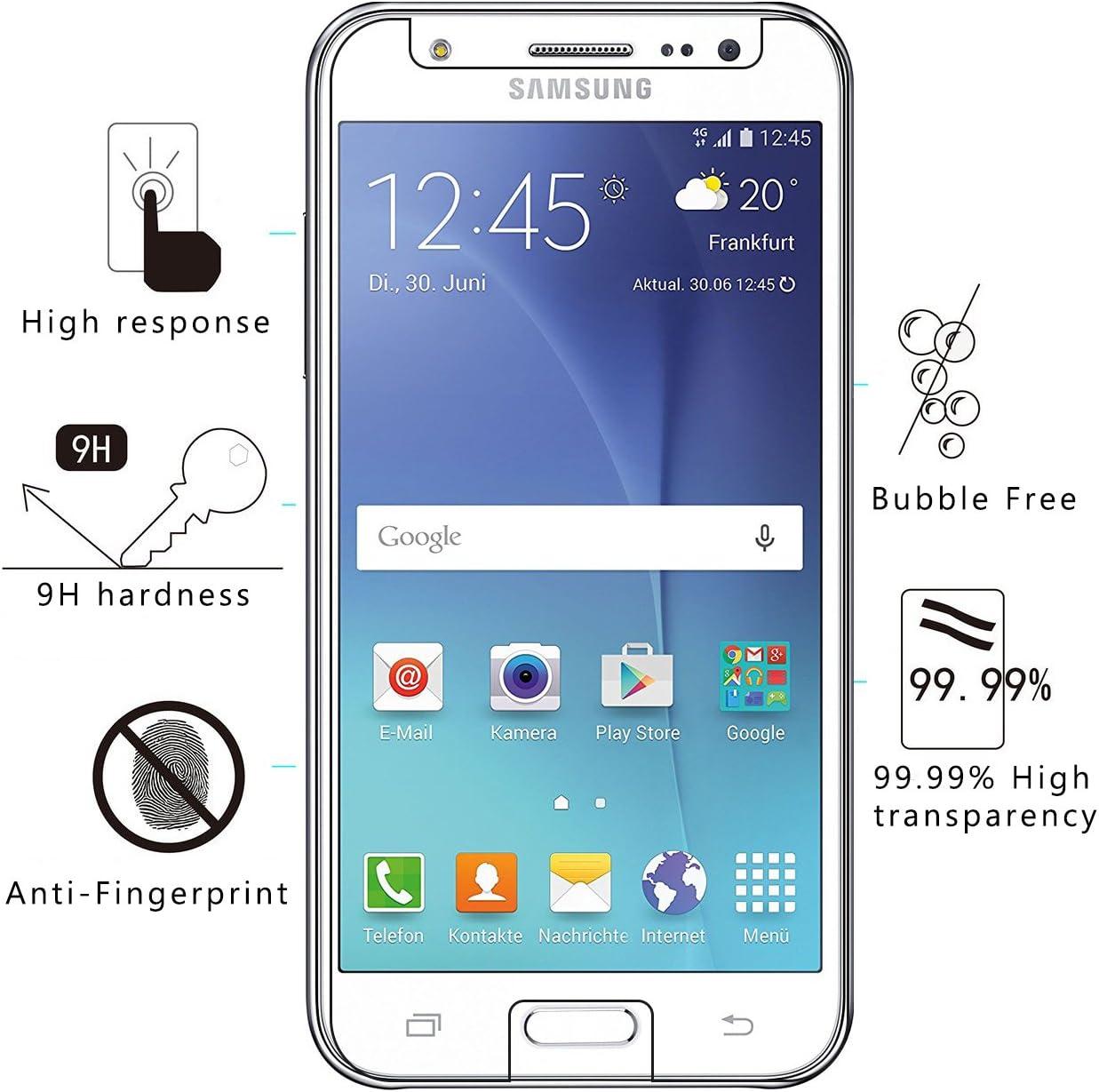 Verre tremp/é /écran Protecteur V-Ted Housse Etui Coque Samsung Galaxy J3 2016 2015 Rouge Silicone Bumper Case Cover Ultra Fine