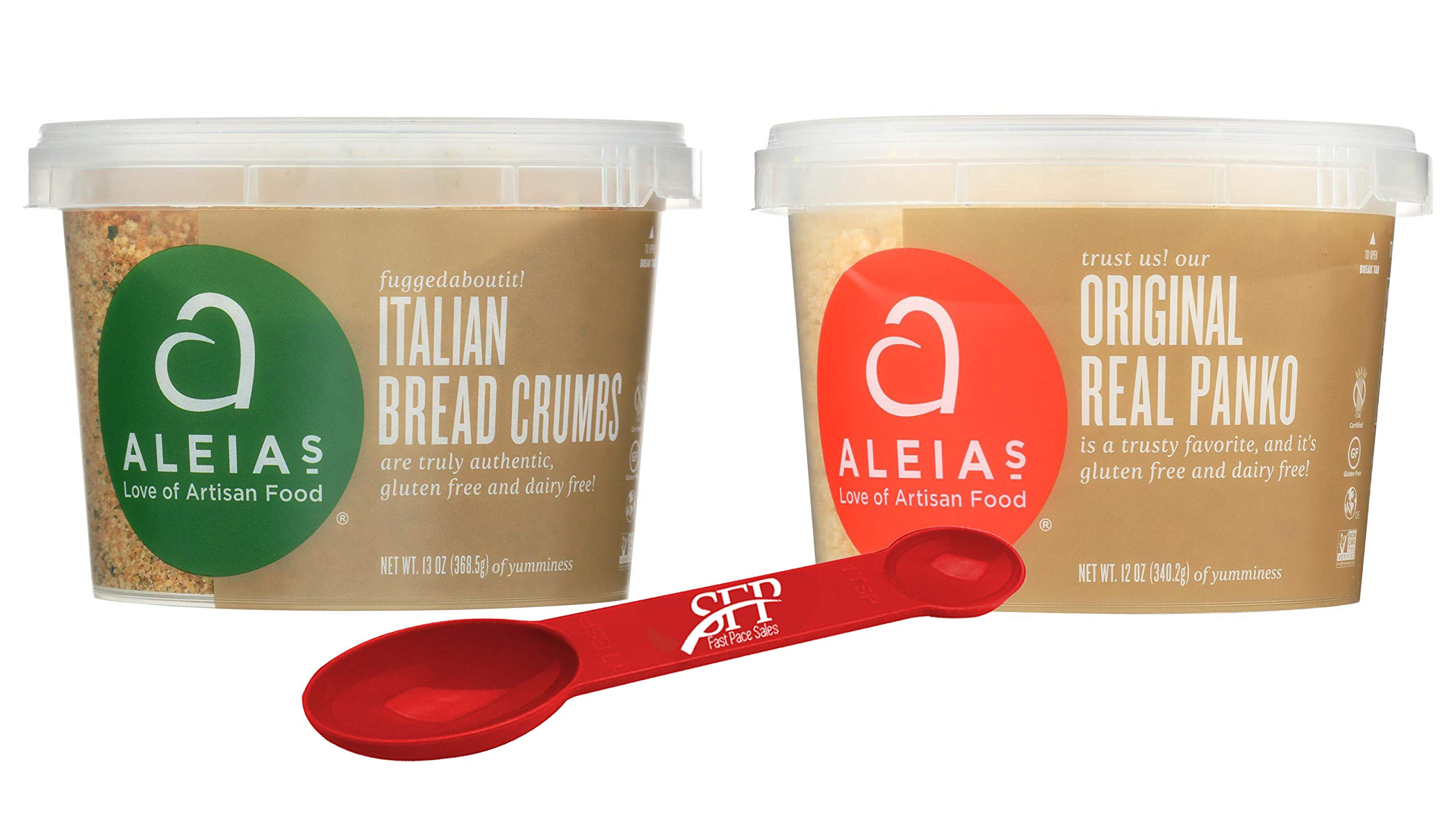 Aleias Gluten Free Variety Pack Includes: (1) Italian Bread Crumbs, Gluten Free Bread Mix, 13 Oz. and (1) Panko Gluten Free Bread Crumbs, 12 Oz, With a Bonus Measuring Spoon. by SFP