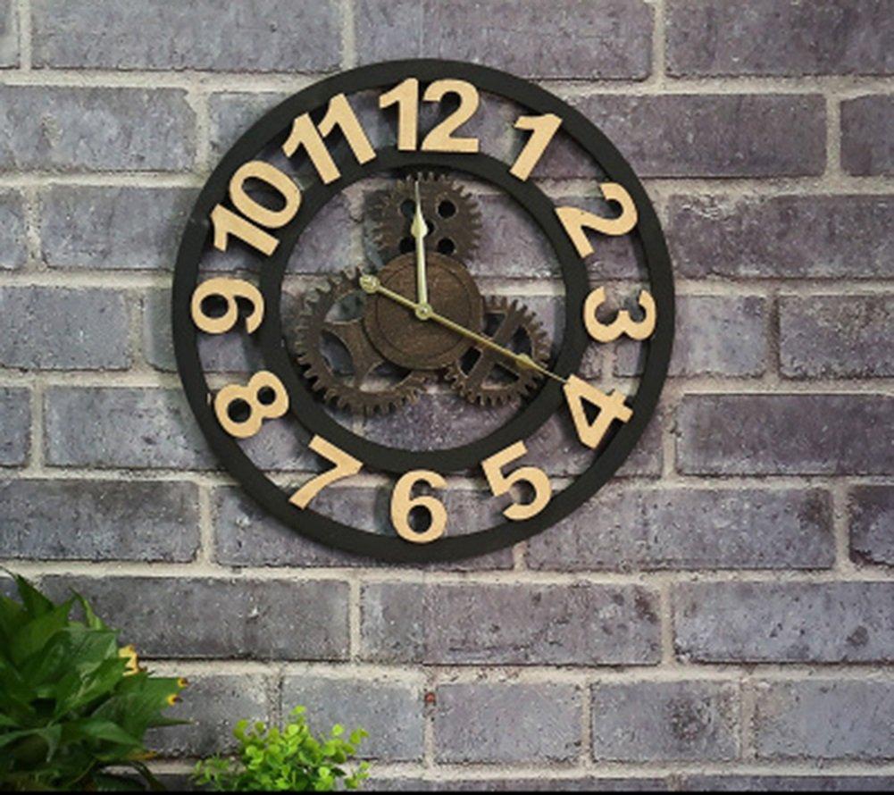 ギアウォールクロック、レトロリビングルームウォールクロックベッドルームウォールクロックホームバーフラワーショップデコレーションレトロウォールクロック直径50CM (色 : A, サイズ さいず : 50*50cm) B07CYYJW2B 50*50cm|A A 50*50cm