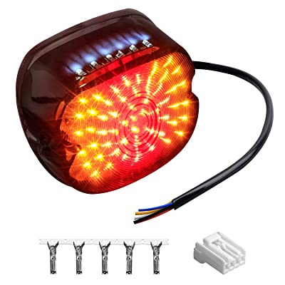 NTHREEAUTO Smoked LED Tail Light Brake Turn Signal Light Low Profile Taillights Compatible with Harley Road King, Sportster 883 1200, FXDL, FLST, Electra Road Glide, Dyna: Automotive