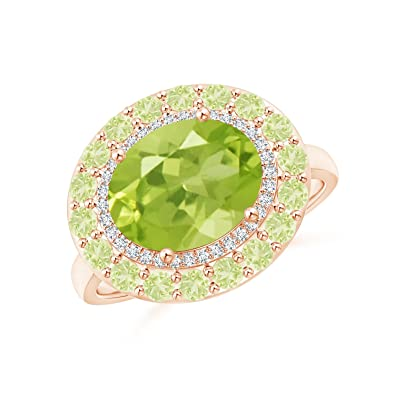 Angara Double Prong-Set Peridot Cocktail Ring in Rose Gold