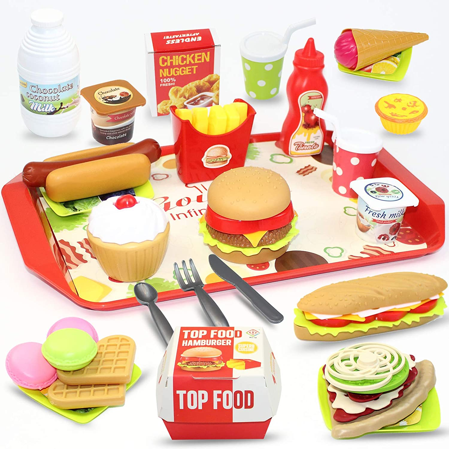 Toy Food Pretend Play Food Set,Pretend Role Play Toys for Educational Preschool Learning,Cutting Pizza Hamburger Fruit Playset for Girls and Boys Ages 3-9