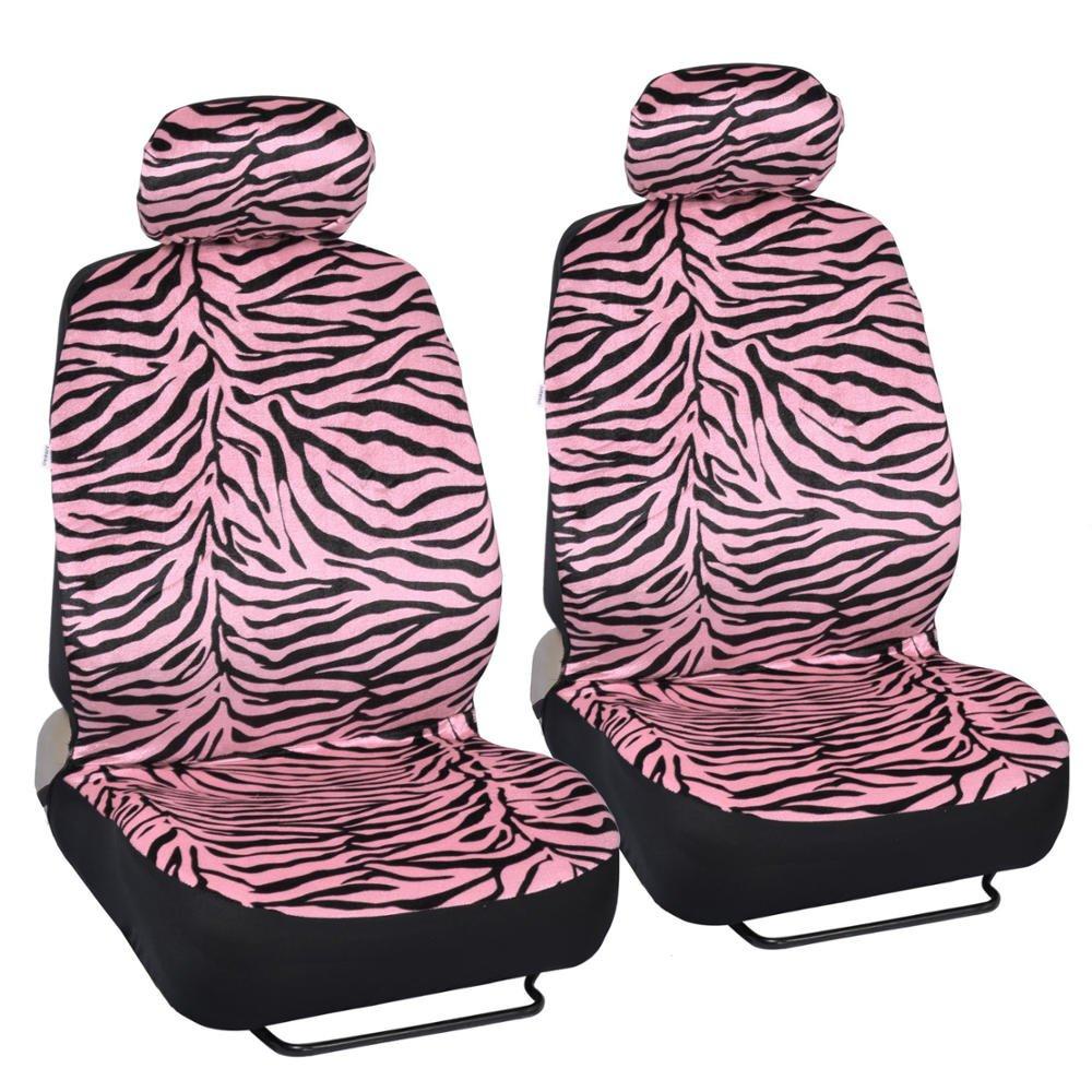 7 Pc Safari Zebra Pink Print Seat Cover Set 2 Lowback Seat Covers, 1 Wheel Cover And 2 Shoulder Pads - Zebra Pink - фото 6