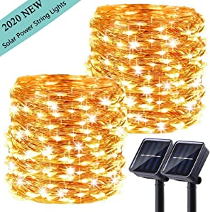 LiyuanQ Upgraded Solar Powered String Lights, 2 Pack 8 Modes 200 LED Solar Fairy Lights Waterproof 66ft Copper Wire Lights Outdoor Garden String Light for Home Patio Yard Party Decoration (Warm White)