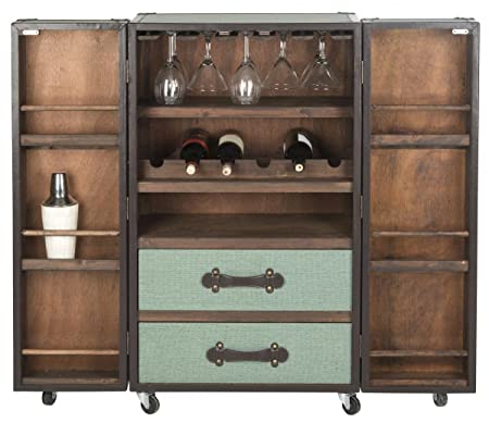 Generic Artikle Leather Brown Leather Effect Bar Trunk Drinks Cabinet