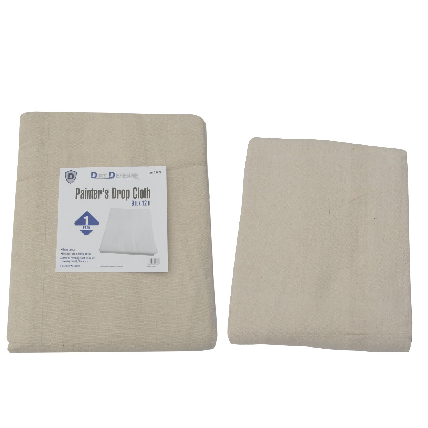 Dirt Defense Cotton & Heavy canvas Drop cloth 9ft x 12 ft