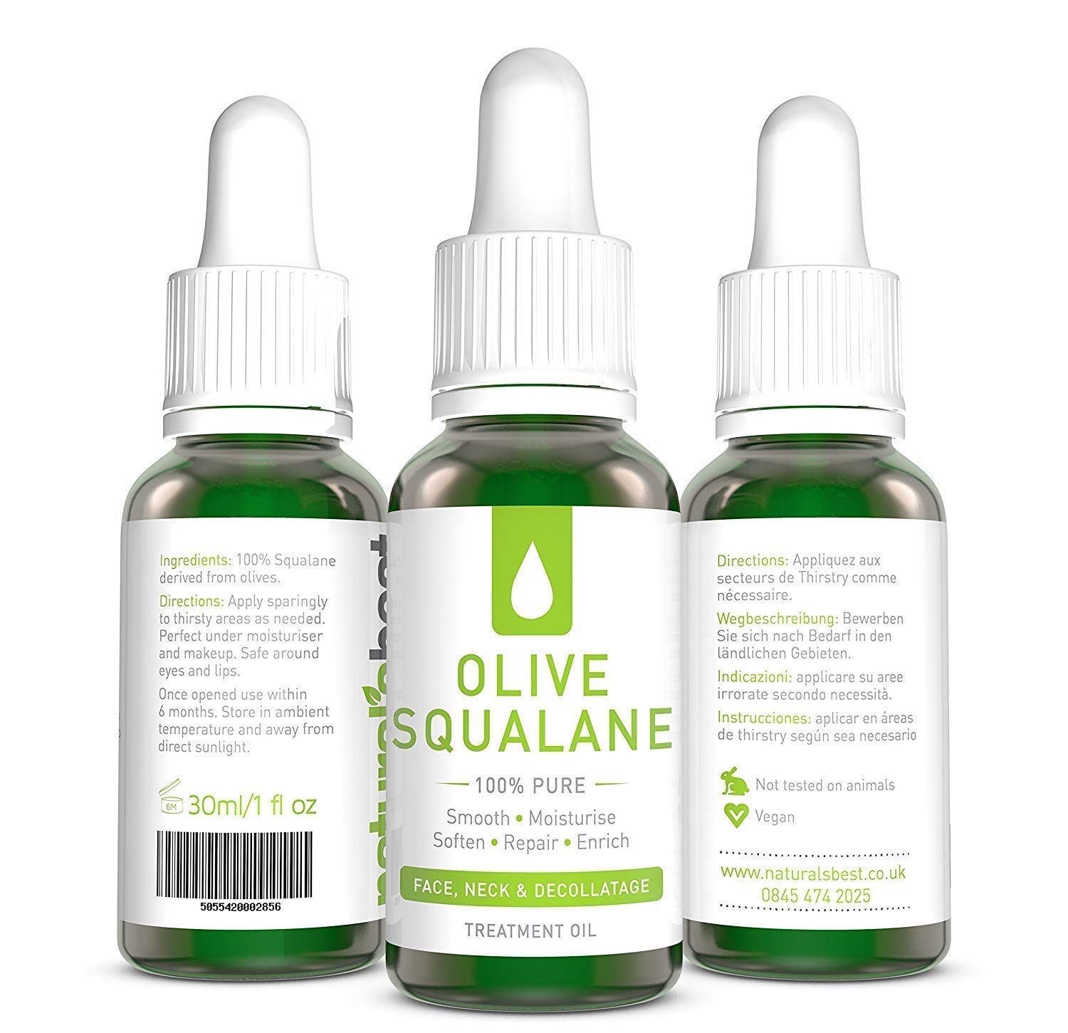 Item Title: Squalane Oil – 100% Pure Olive Oil Squalane Oleic – Restores Skin Elasticity – Cold Pressed – Suitable for Vegans - 30ml by Naturals Best