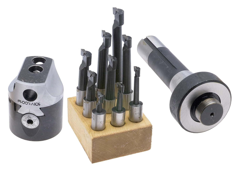 2 Head plus R8 Shank and 1//2 Carbide Tip Boring Bar Set BHS-2 Boring Head Set