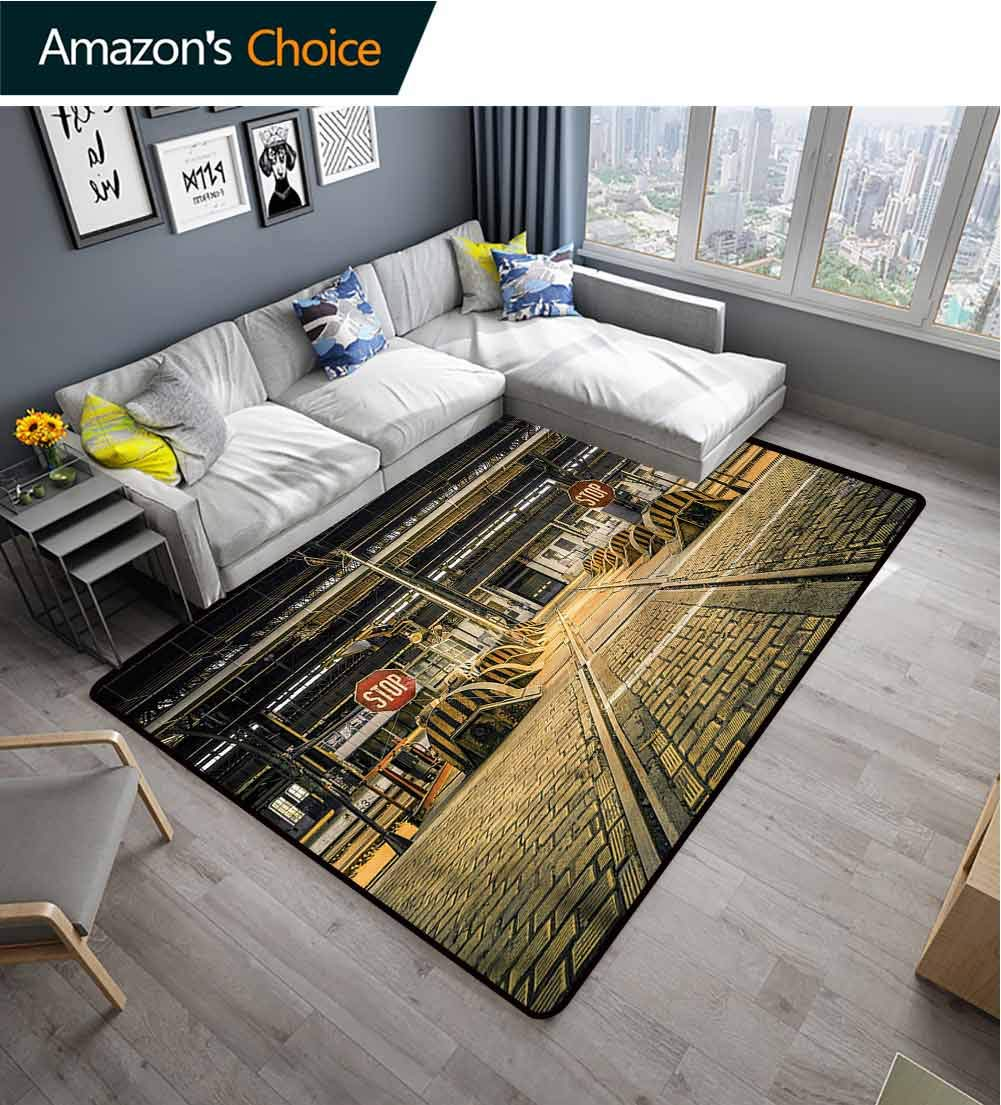 TableCoversHome Industrial Geometric Floor Comfort Mats, Abandoned Empty Factory Pattern Printing Rugs, Easy Maintenance Area Rug Living Room Bedroom Carpet (2'x 3') by TableCoversHome