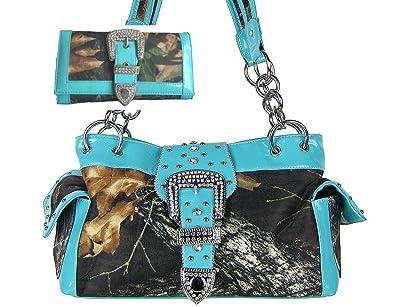 d63f35e118f0 GoCowgirl Western Concealed Carry Gun Belt Buckle Purse Camouflage Handbag  Camo W Matching Wallet (Blue