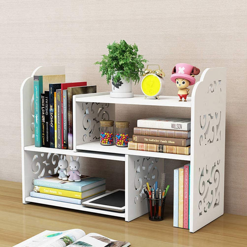 Small Bookshelf for Desktop Storage, Mini Narrow Desk White Ladder Organizers for Women, Kids, Men for Office Decor Accessories