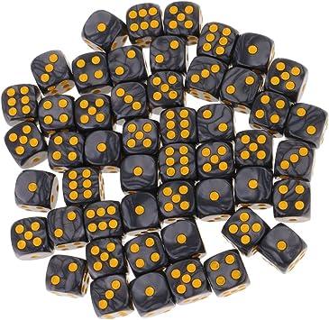 MagiDeal Set 50 Piezas D6 Dados Redondas 16mm Juegos de Mesa Juegos de Dados - Negro: Amazon.es: Juguetes y juegos