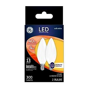 GE Lighting 25032 Light Bulb Dimmable LED Soft White Decorative 4 (40-Watt Replacement), 300-Lumen Medium Base Blunt Tip, 2-Pack