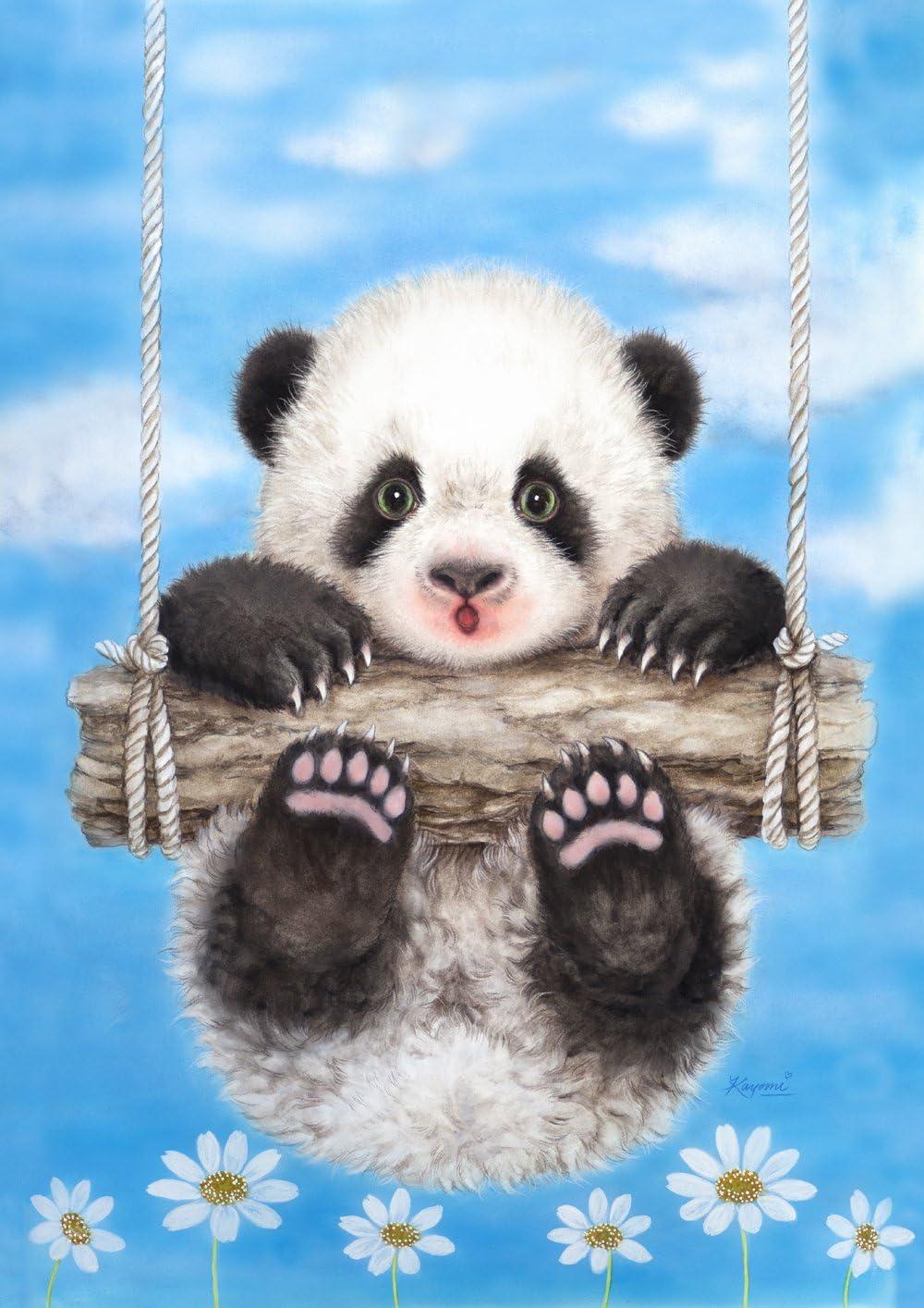 Toland Home Garden Panda Playtime 12.5 x 18 Inch Decorative Cute Cuddly Summer Daisy Swing Garden Flag