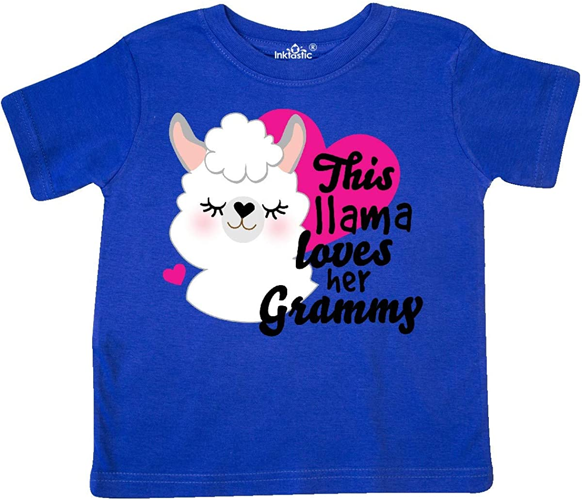 inktastic Valentines Day This Llama Loves Her Grammy Toddler T-Shirt