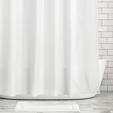 mDesign Water Repellent, Mildew Resistant, Heavy Duty Flat Weave Fabric Shower Curtain, Liner - Weighted Bottom Hem for Bathroom Shower and Bathtub - 72  x 72  - White