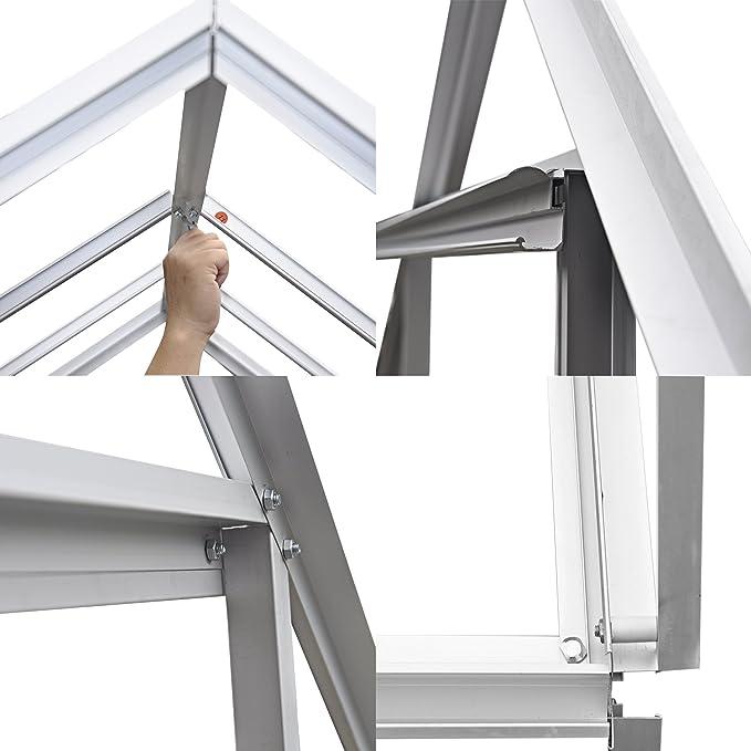 Invernadero de policarbonato con puerta corredera y ventana de ventilación grande, marco de aluminio galvanizado: Amazon.es: Jardín