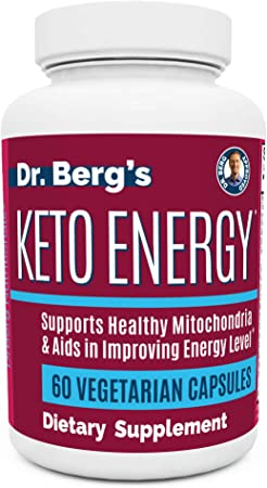 Dr. Berg's Keto Energy - Enhanced Mitochondrial Support, Nutritional Energy Supplement with Vitamins & Minerals, Alpha Lipoic Acid, Food-Based Ingredients - Keto Diet Perfect (60 Vegetarian Capsules)