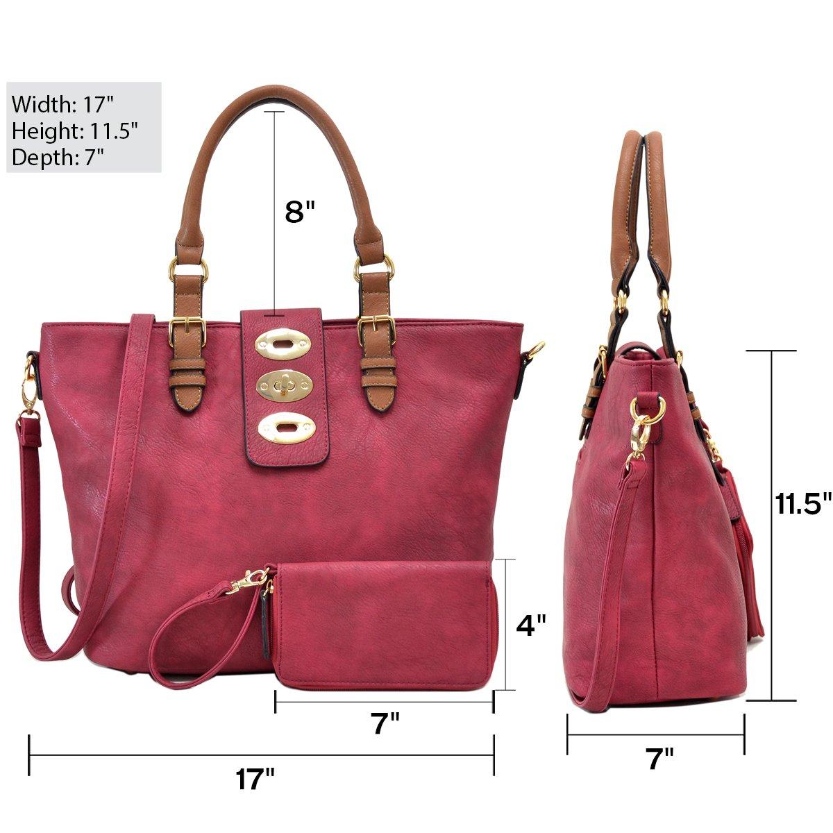 MMK collection Fashion handbag~Classic Tote bag~Holiday gift purse with Wallet~Beautiful Handbag wallet set~Crossbody handbag (MA-07-6717-BK/CF) by Marco M. Kelly (Image #2)