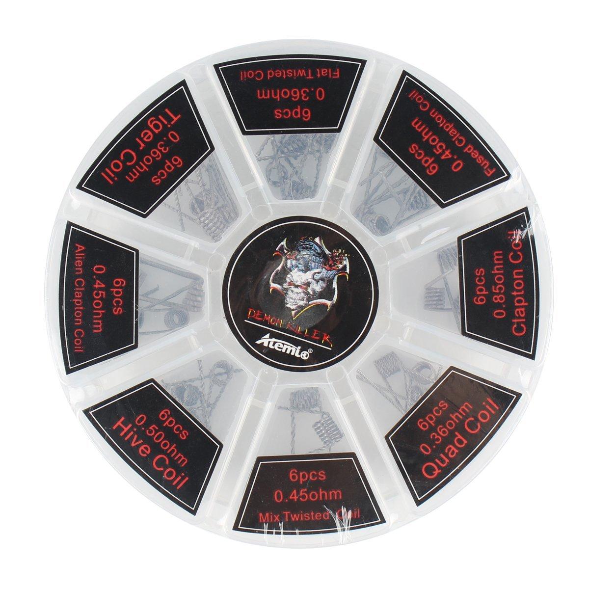 Kit di fili pre-avvolti A1, Atemto 8-in-1 per RDA RBA RDTA E sigaretta Alien Clapton Coil, Fused Clapton Coil, Tiger Coil, Clapton Coil, Mix Twisted Coil, Hive Coil, Quad Coil, Flat Twisted Coil UK-WIRE-SC43