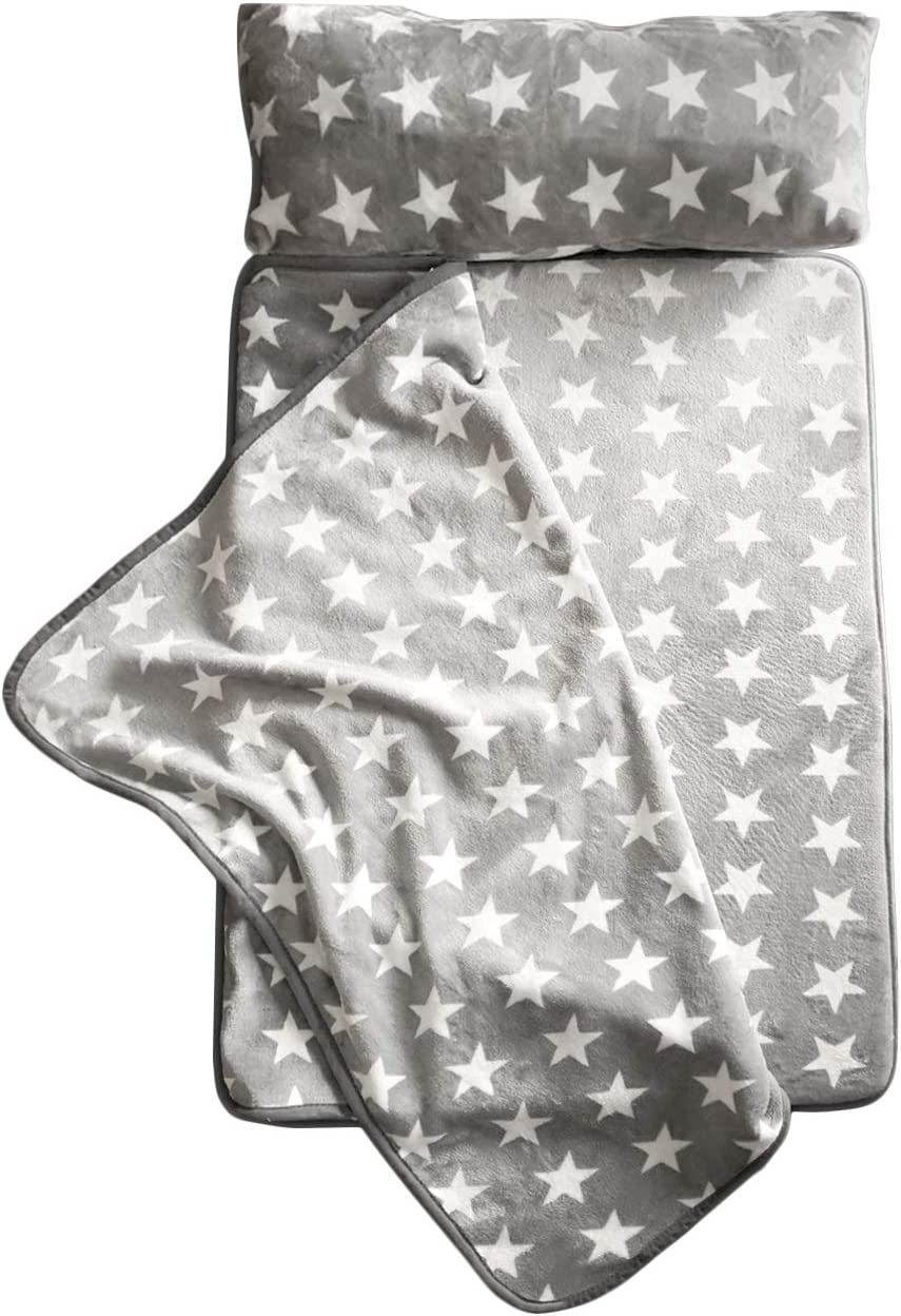 Milliard -Memory Foam- Nap Mat Roll Stars with Fuzzy Blanket and Removable Pillow, Machine Washing for Toddler Daycare Preschool Kindergarten and Sleepovers