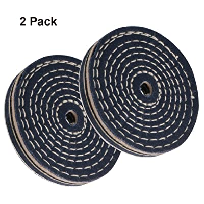 "SCOTTCHEN 4 Inch Denim Polishing Buffing Wheels Coarse Polish 1/2"" Thick Spiral Sewn With 1/2"" Arbor Hole for Drills - 2Pack"