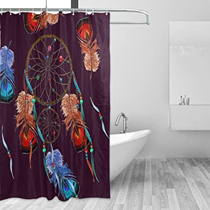 LORVIES Dream Catcher Shower Curtain Polyester Fabric Water Repellent Mildew Resistant For Bathroom Bathtubs