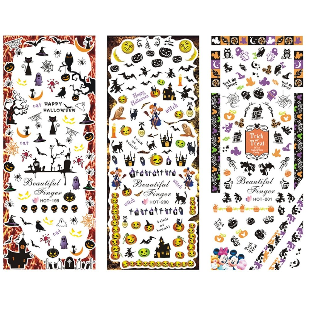 Gracefulvara 3 Sheets Halloween Nail Art Stickers Water Transfer Decal
