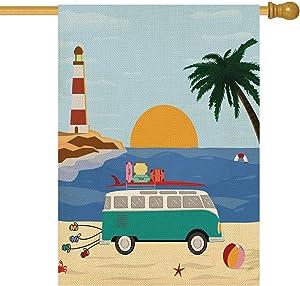 ORTIGIA Summer Beach Garden Flag Vertical Double Sided Coconut Tree car Sunrise,Seasonal Rustic Burlap Yard Outdoor Decoration 28 x 40 Inch