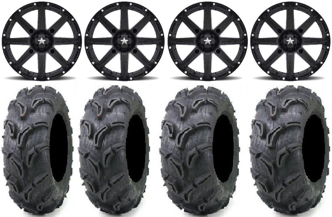 Bundle - 9 Items: MSA Black Clutch 12'' UTV Wheels 25'' Zilla Tires [4x137 Bolt Pattern 12mmx1.25 Lug Kit]