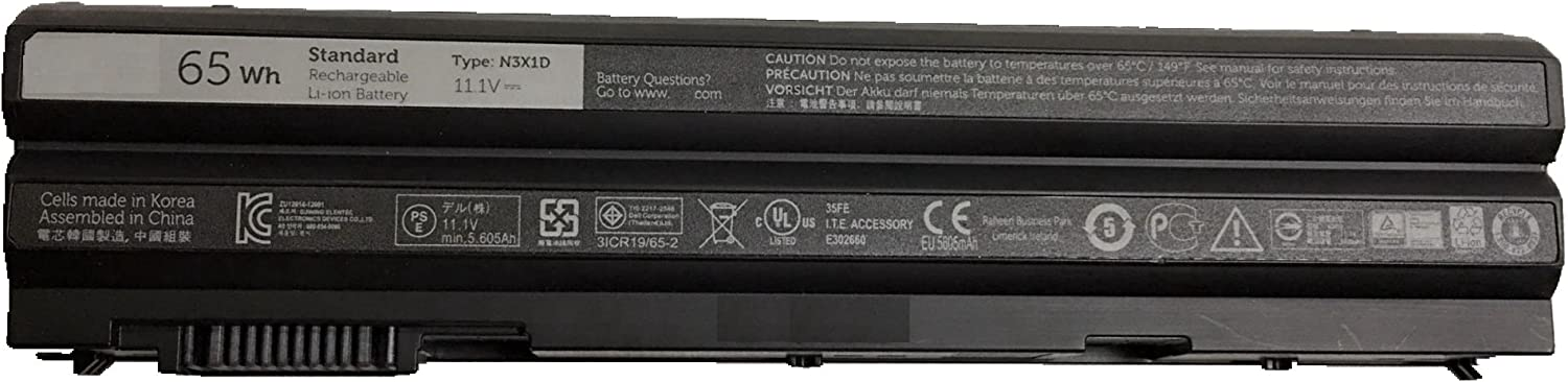 Dentsing N3X1D for Dell Latitude E6540 E6440 E5530 E5430 E6520 E6420 Precision M2800 6-Cell Laptop Battery 65Wh - N3X1D