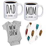 """Pregnancy Gift Est 2021 - New Mommy and Daddy Est 2021 11 oz Mug Heart Set with """"New To The Crew"""" Romper (0-3 Months) - Top M"""