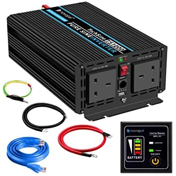 Power Inverter Pure Sine Wave-1000 Watt 12V DC to 230V/240V AC  Converter-2AC Outlets Car Inverter with One USB Port-5 Meter Remote Control  And Two
