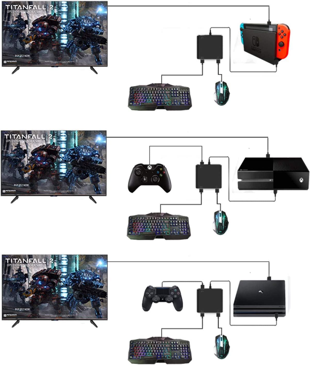 Adaptador De Teclado Y Mouse Para Ps4, Xbox One