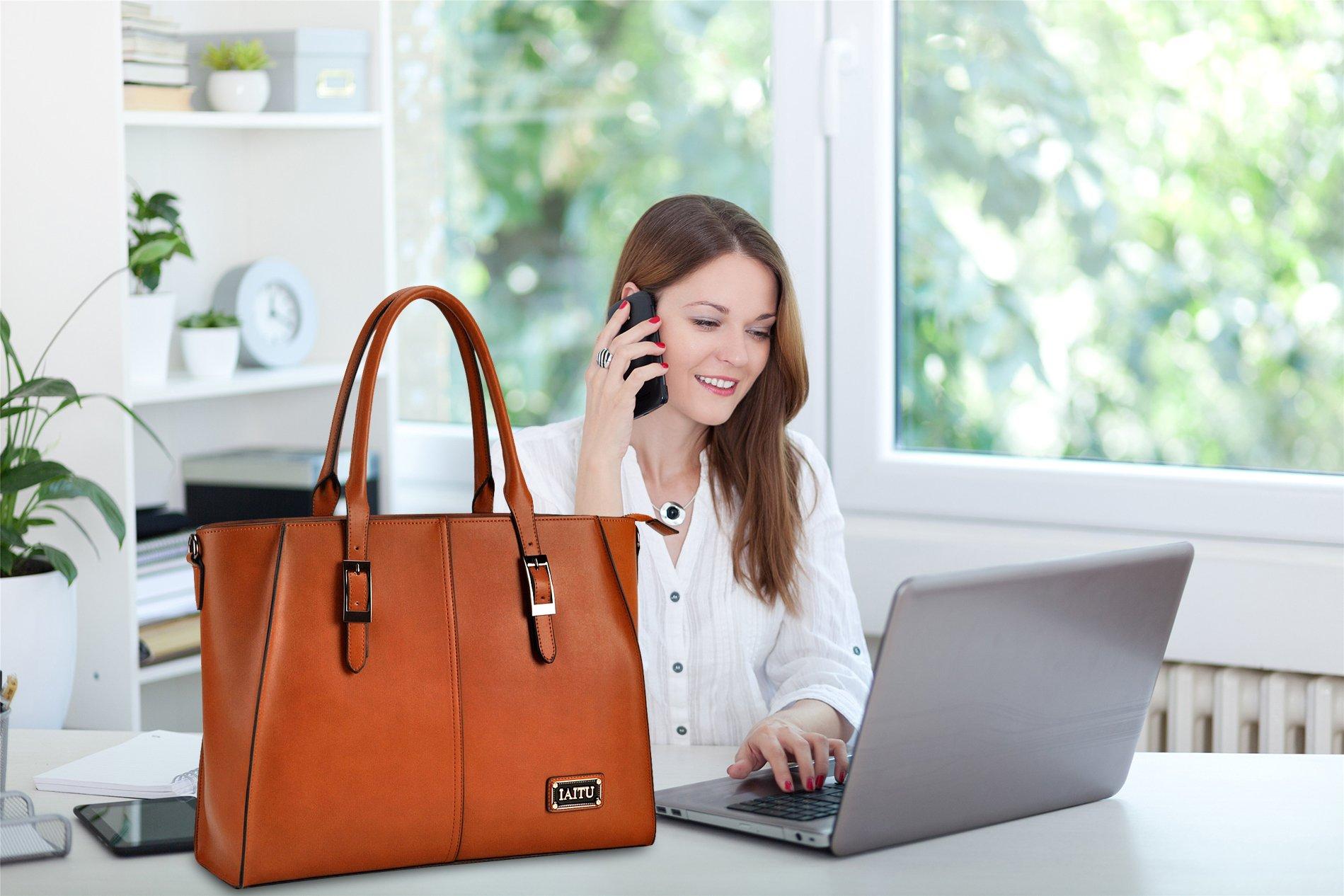 IAITU Laptop Tote Bag,15.6 Inch Crossbody Laptop Bag Casual Work Business Handbag with Smooth Zipper for Women(Brown) by IAITU (Image #6)