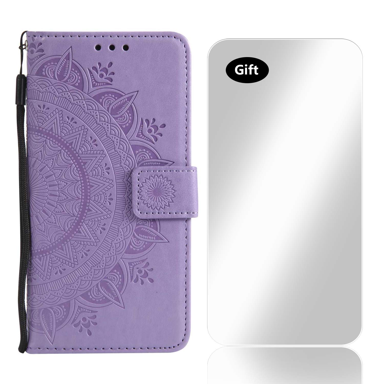 Bear Village Case LG K10 2017, PU Leather Embossed Design Case with Free Tempered Glass Screen Protector, Wallet Flip Stand Cover for LG K10 2017 (#3 Purple)