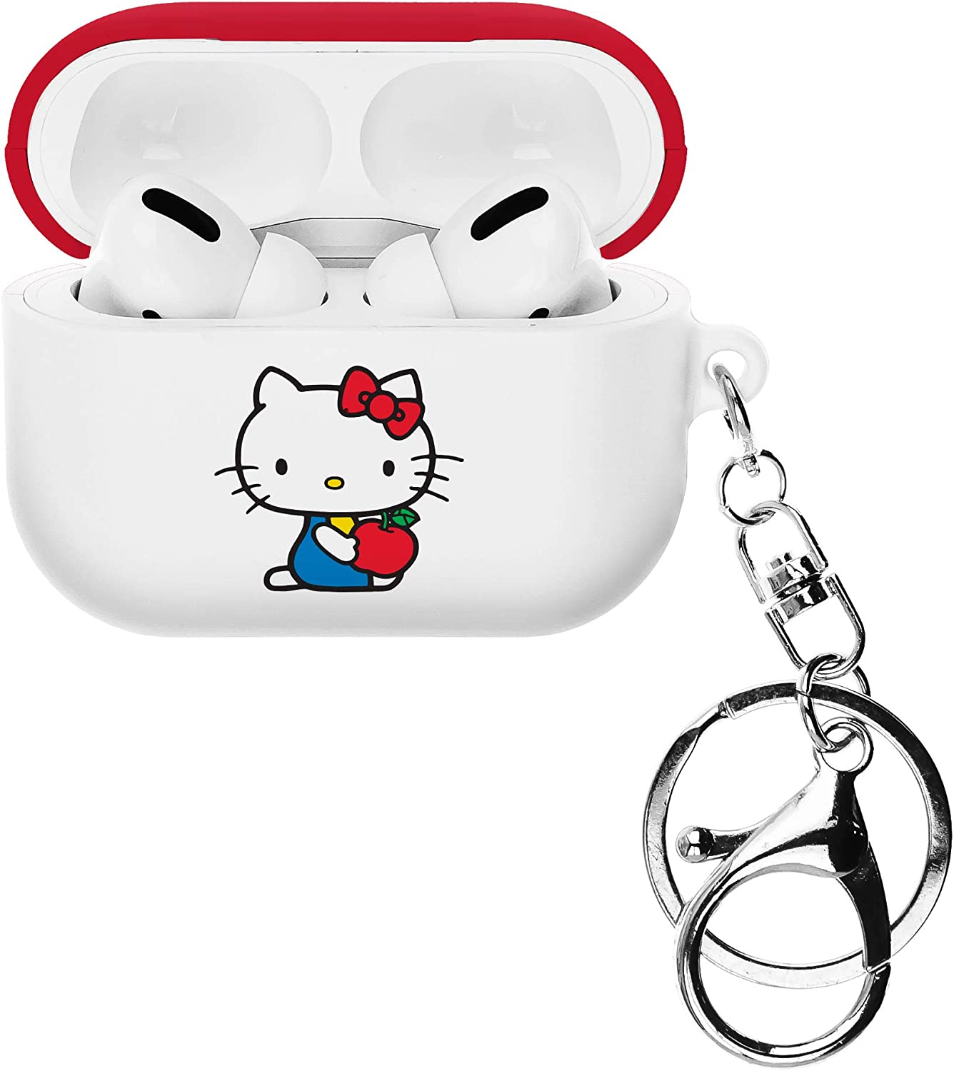 Sanrio Compatible with AirPods Pro Case Key Ring Keychain Key Holder Hard PC Shell Strap Hole Cover - Hello Kitty Apple