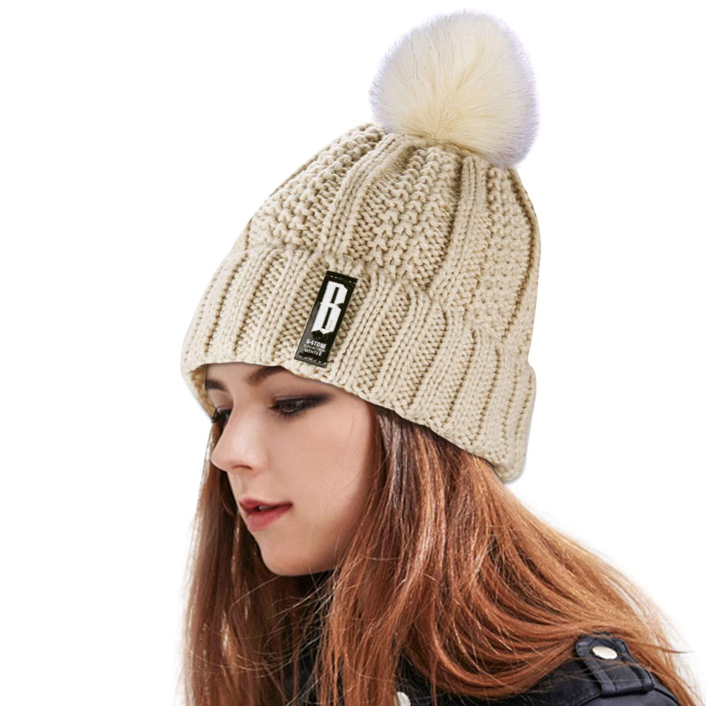 Women\'s Winter Warm Pom Pom Beanie Hat,Proking Warm Hand Knit Fleece Lined Beanie Hats for Women,Thick Slouchy Knie Snow Skull Ski Caps for Ladies(Beige)