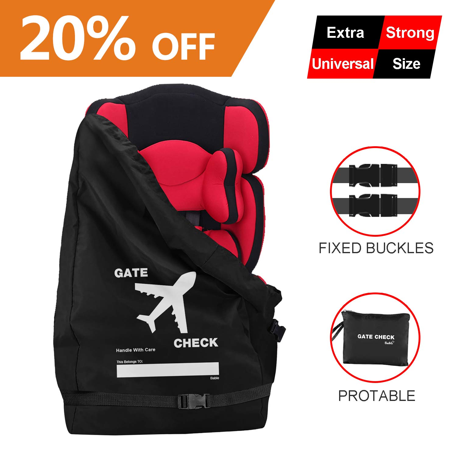 Compatible with Most Name Brand for Airport Gate Check-in Save Money Universal Size Car Seat Cover Increase Space and Thickness Make Traveling Easier Bable Car Seat Travel Bag