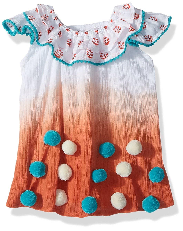 6c1b28c9174c Amazon.com: Masala Baby Girls Baby Pom Flutter Dress Tie Dye Coral: Clothing