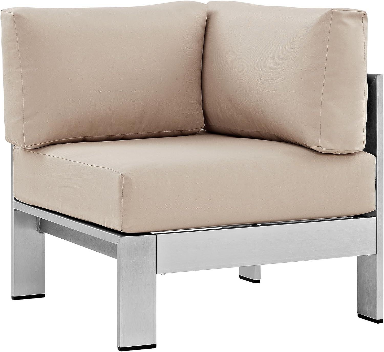 Modway Shore Aluminum Outdoor Patio Corner Chair in Silver Beige