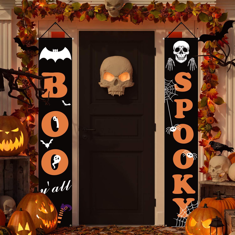 Dazonge Halloween Decorations Outdoor   Boo and Spooky Halloween Signs for Front Door or Indoor Home Decor   Porch Decorations   Halloween Welcome Signs