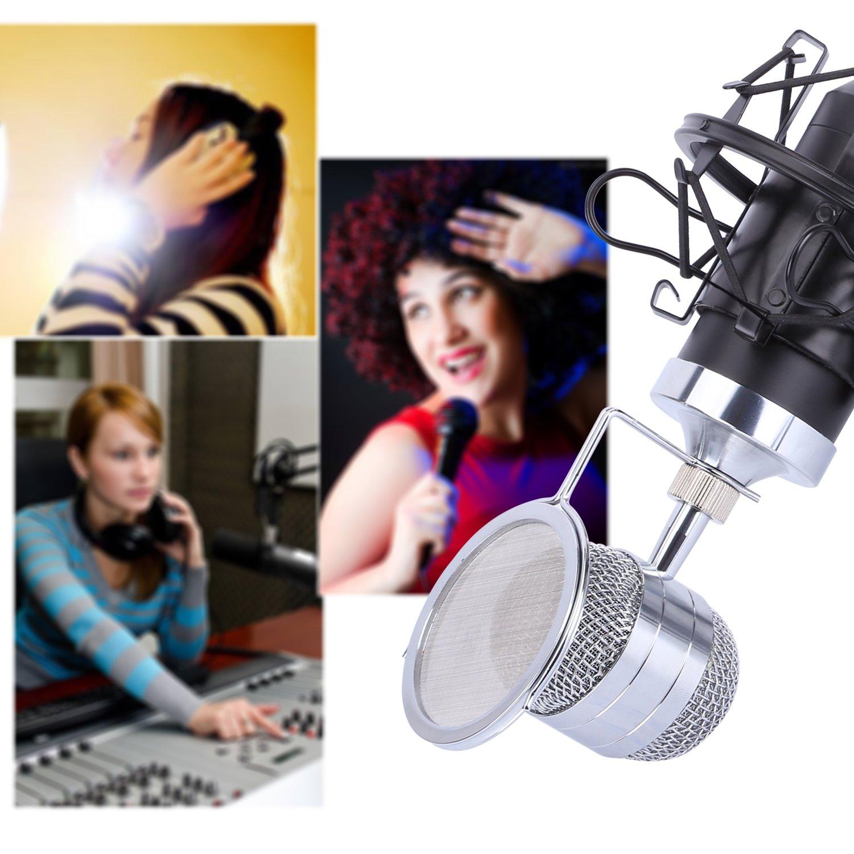 CAHAYA Kondensator Mikrofon Studio Mikrofon mit 3.5mm XLR Kabel Pop Filter Shock Mount für Studio Rundfunk Aufnahme(Schwarz) CY0031
