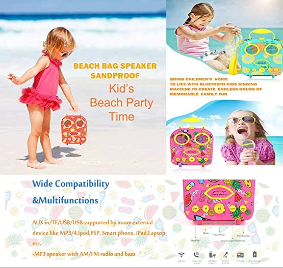 SUEMIA Bluetooth Speaker Children s Karaoke Speaker Portable Microphone Beach Handbag Karaoke Wireless Cartoon Speaker for Kids for Indoor Outdoor Travel Activities with Microphone